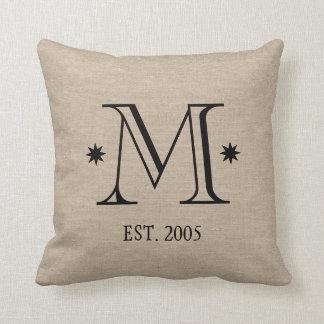 Monogram faux linen burlap rustic chic initial dat throw pillow