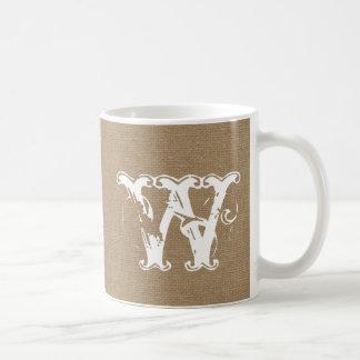Monogram faux linen burlap rustic chic initial jut coffee mug