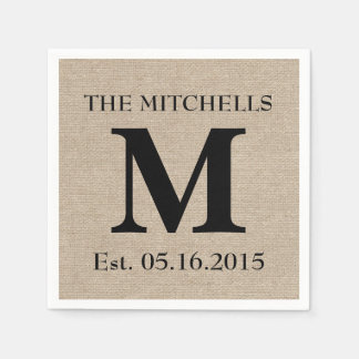 Monogram faux linen burlap rustic chic initial jut disposable napkin