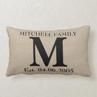 Monogram faux linen burlap rustic chic initial jut pillows
