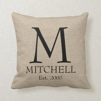 Monogram faux linen burlap rustic chic initial jut pillow