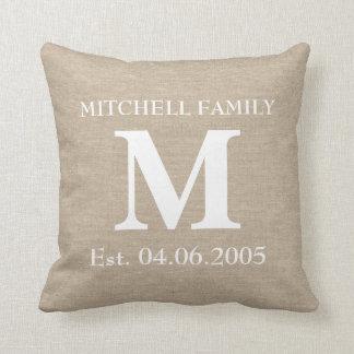Monogram faux linen burlap rustic chic initial jut throw pillow