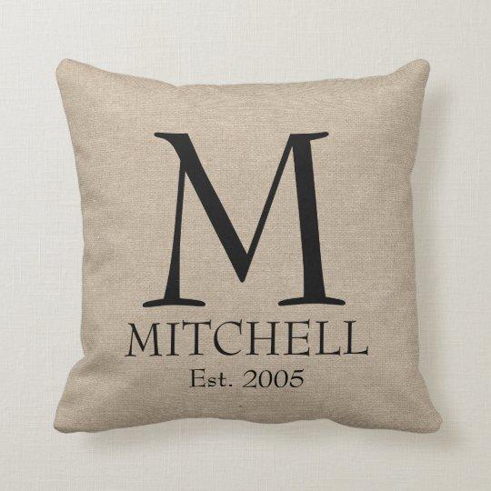 Linen Monogram Throw Pillow: Monogram Faux Linen Burlap Rustic Chic Initial Jut Throw