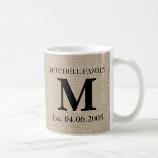 Monogram faux linen burlap rustic initial wedding coffee mug