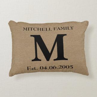 Monogram faux linen burlap rustic initial wedding decorative pillow