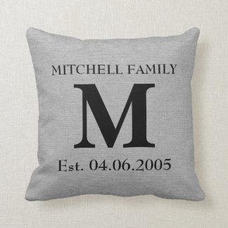 Monogram faux linen burlap rustic initial wedding pillow