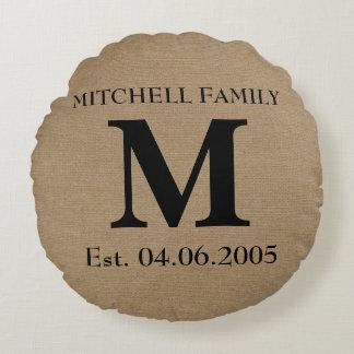 Monogram faux linen burlap rustic initial wedding round pillow