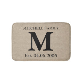 Monogram faux linen burlap rustic initial wedding bath mats