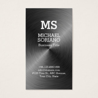 Monogram Faux Metal Background Business Card