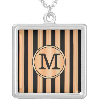 Monogram Faux Red Birch and Ebony Stripes Square Pendant Necklace