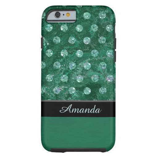 Monogram faux rhinestones green background design tough iPhone 6 case