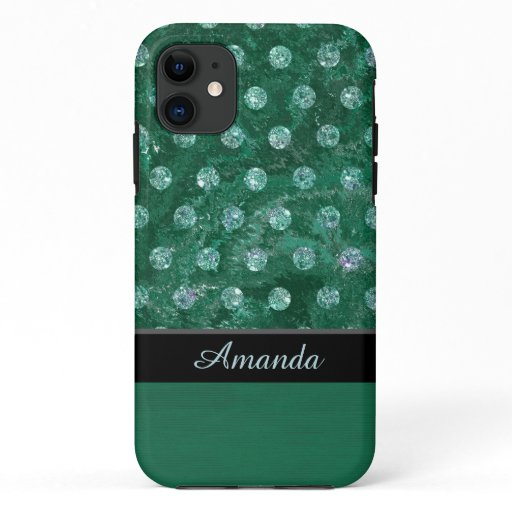 Monogram faux rhinestones green background design iPhone 11 case