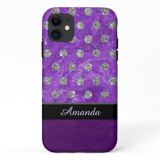 Monogram faux rhinestones purple design iPhone 11 case
