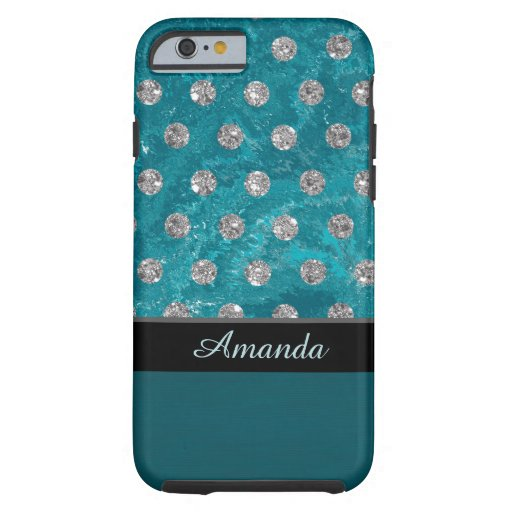 Monogram faux rhinestones turquoise design tough iPhone 6 case