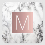 monogram faux rose gold and white on marble square sticker