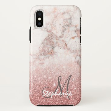 Beach Themed Monogram Faux Rose Gold Glitter White Marble Ombre iPhone X Case