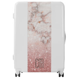 Monogram Faux Rose Gold Glitter White Marble Ombre Luggage