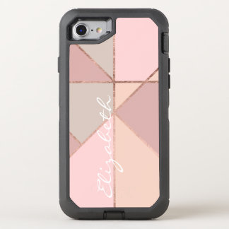 Monogram faux rose gold peach blush color block OtterBox defender iPhone 8/7 case
