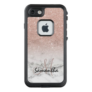 Monogram faux rose pink glitter ombre white marble LifeProof® FRĒ® iPhone 7 case