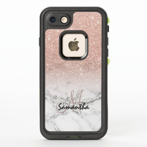 Monogram faux rose pink glitter ombre white marble Phone Case