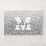 """Monogram Faux Silver Glitter Chic Trendy Glam HP Laptop Skin<br><div class=""""desc"""">Create your own trendy faux silver glitter HP Laptop Skin with your monogram initial in a bold white serif font reminiscent of high school or collage team spirit. The name option, in a dark silvery gray color and a modern simulated handwritten script font, can be customized as easily as changing...</div>"""
