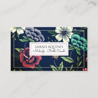 Monogram Faux Woodcut Floral Midwife Birth Coach Business Card