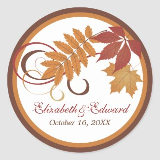 Monogram Favor Sticker | Autumn Falling Leaves sticker