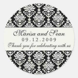 Monogram Favor Sticker Black White Damask
