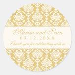 Monogram Favor Sticker | Gold + Ivory Damask