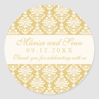 Monogram Favor Sticker | Gold + Ivory Damask