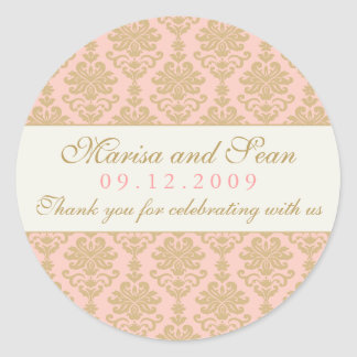Monogram Favor Sticker | Pink Champagne Damask
