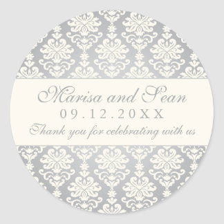 Monogram Favor Sticker | Silver + Ivory Damask