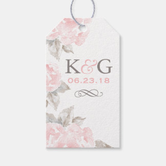 Monogram Favor Tags | Pink Watercolor Roses Pack Of Gift Tags