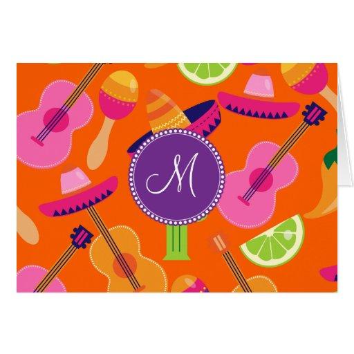 Monogram Fiesta Party Sombrero Cactus Limes Pepper Card