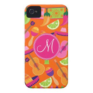 Monogram Fiesta Party Sombrero Cactus Limes Pepper Case-Mate iPhone 4 Cases