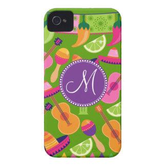 Monogram Fiesta Party Sombrero Cactus Limes Pepper iPhone 4 Case