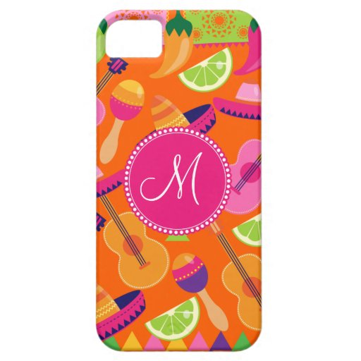 Monogram Fiesta Party Sombrero Cactus Limes Pepper iPhone 5 Cover