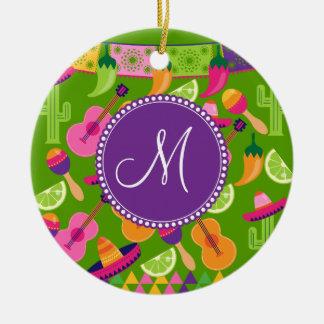 Monogram Fiesta Party Sombrero Cactus Limes Pepper Ceramic Ornament