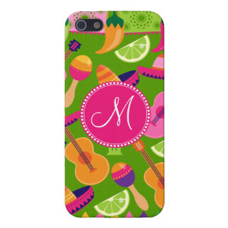 Monogram Fiesta Party Sombrero Cactus Limes Pepper Cover For iPhone SE/5/5s