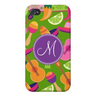 Monogram Fiesta Party Sombrero Cactus Limes Pepper iPhone 4/4S Covers
