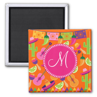 Monogram Fiesta Party Sombrero Cactus Limes Pepper Magnet