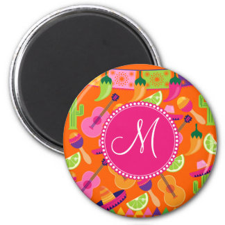 Monogram Fiesta Party Sombrero Cactus Limes Pepper Magnet