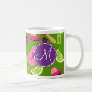 Monogram Fiesta Party Sombrero Cactus Limes Pepper Classic White Coffee Mug