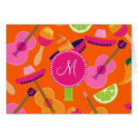 Monogram Fiesta Party Sombrero Cactus Limes Pepper Stationery Note Card