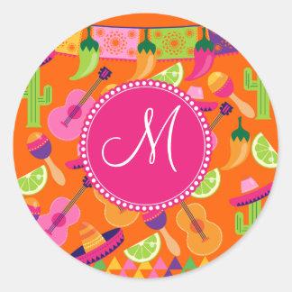 Monogram Fiesta Party Sombrero Cactus Limes Pepper Sticker