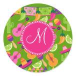 Monogram Fiesta Party Sombrero Cactus Limes Pepper Classic Round Sticker