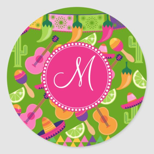 Monogram Fiesta Party Sombrero Cactus Limes Pepper Round Stickers