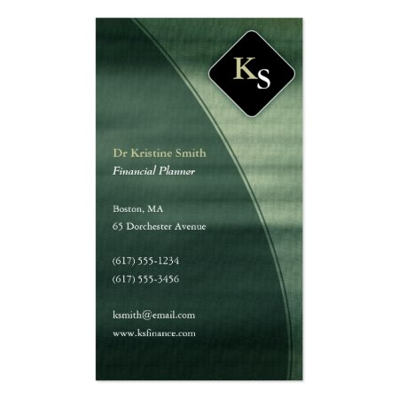 Mineral Green Professional Monogram Business Cards Calling Cards