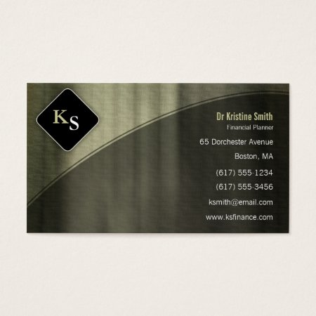 Kelp Gray Curtain Effect Monogram Financial Planner - Business Card Calling Card