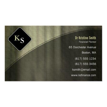 Kelp Gray Curtain Effect Monogram Financial Planner - Business Card Calling Card